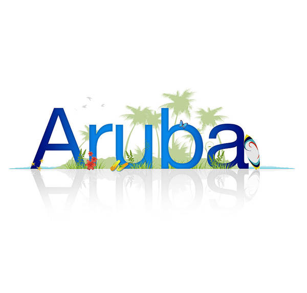 Tropical Drawing - Travel Aruba by Aged Pixel