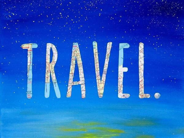 Travel Mixed Media - Travel Word Art by Michelle Eshleman