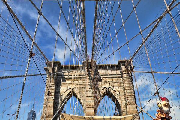 Photograph - Traveling Gnome Visits The Brooklyn Bridge by Paulette B Wright