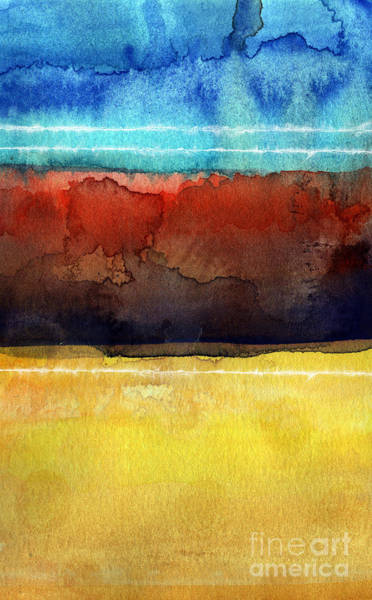 Yellow Sun Painting - Traveling North by Linda Woods