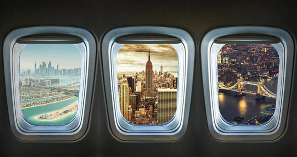 View Through Window Photograph - Traveling The World With An Airplane by Franckreporter