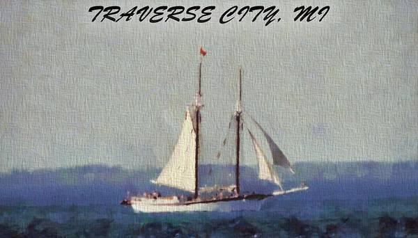 Sailboat Mixed Media - Traverse City Postcard by Dan Sproul