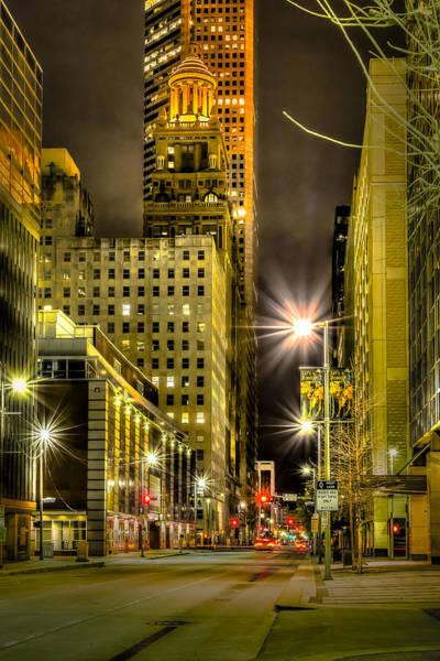 Photograph - Travis And Lamar Street At Night by David Morefield