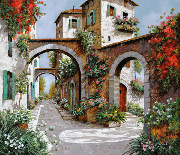 Tuscany Landscape Wall Art - Painting - Tre Archi by Guido Borelli