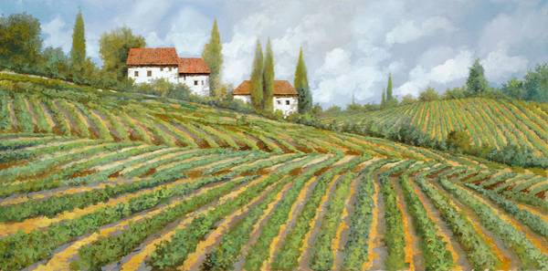 Wall Art - Painting - Tre Case Bianche Nella Vigna by Guido Borelli