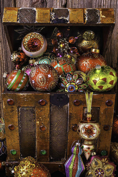 Lid Wall Art - Photograph - Treasure Box With Christmas Ornaments by Garry Gay
