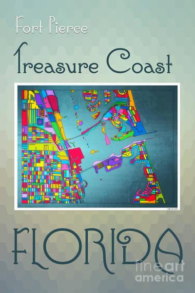 Digital Art - Treasure Coast Map by Megan Dirsa-DuBois