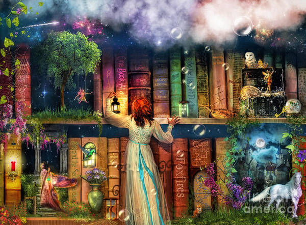 Aimee Stewart Wall Art - Digital Art - Fairytale Treasure Hunt Book Shelf Variant 2 by MGL Meiklejohn Graphics Licensing