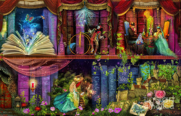 Wall Art - Digital Art - Fairytake Treasure Hunt Book Shelf Variant 4 by MGL Meiklejohn Graphics Licensing