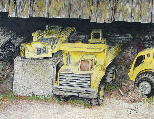 Old Truck Drawing - Treasures Under The Barn by Lew Davis