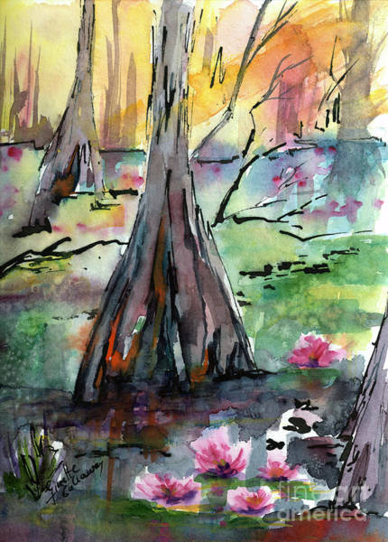 Painting - Tree 2 Beauty Among The Cypress Trees  by Ginette Callaway