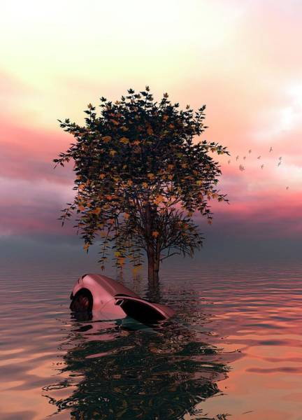 Three Dimensional Wall Art - Photograph - Tree And Car In Water by Victor Habbick Visions