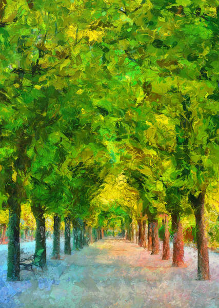 Painting - Tree Avenue In The Vienna Augarten by Menega Sabidussi