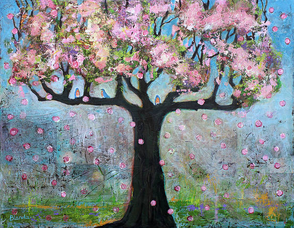 Wall Art - Painting - Tree Blossoms And Bluebirds by Blenda Studio