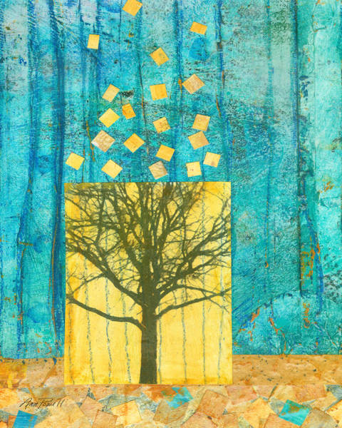 Teal Mixed Media - Tree Collage by Ann Powell