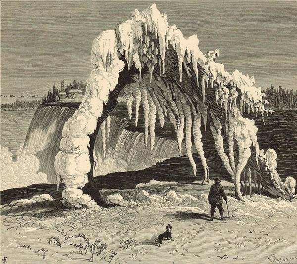 Frozen Waterfall Digital Art - Tree Crushed By Frozen Spray by Antique Engravings