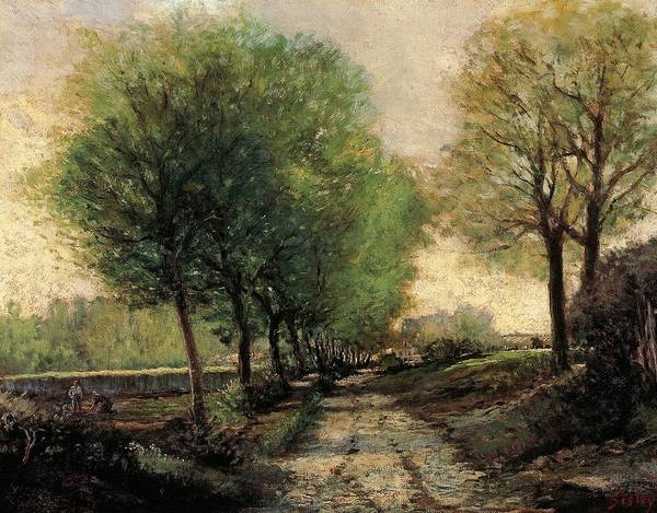 Late Afternoon Wall Art - Painting - Tree-lined Avenue In A Small Town by Alfred Sisley