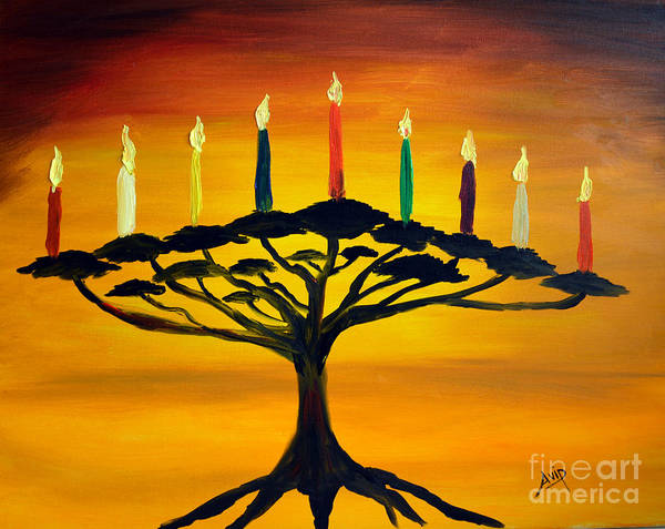 Avi Painting - Tree Of Life Menorah by Avishai Avi     Peretz