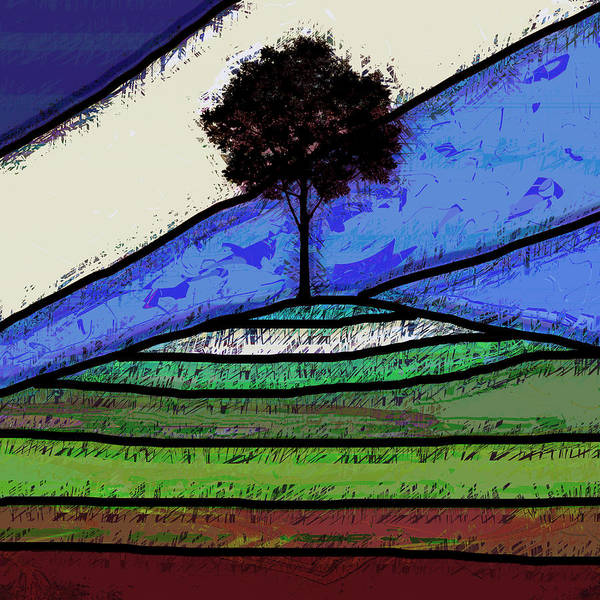 Wall Art - Digital Art - Tree On The Hill by David G Paul