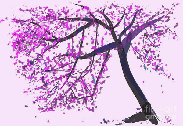 Painting - tree Pink tree by Go Van Kampen