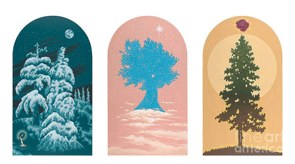 Painting - Tree Triptych For Rivera Funeral Home 220 by William Hart McNichols