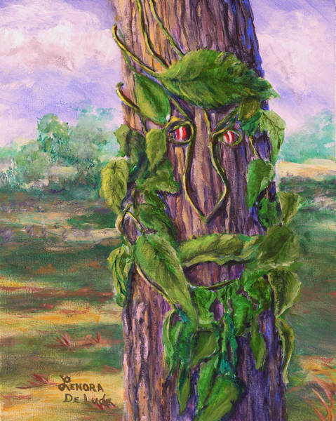 Painting - Tree With A Leaf Face Landscape Art by Lenora  De Lude