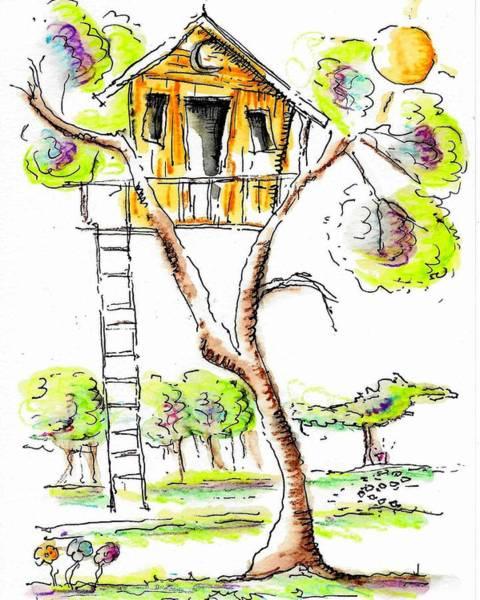 Drawing - Treehouse by Jason Nicholas