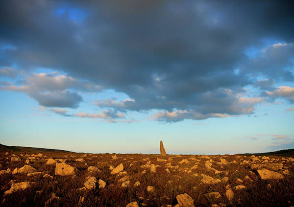Moorland Photograph - Treenearla Standing Stone Aka Menhir by Panoramic Images