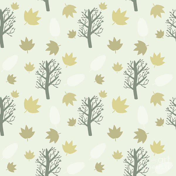 Wall Art - Digital Art - Trees And Leaves Background, Seamless by Yurii Loud