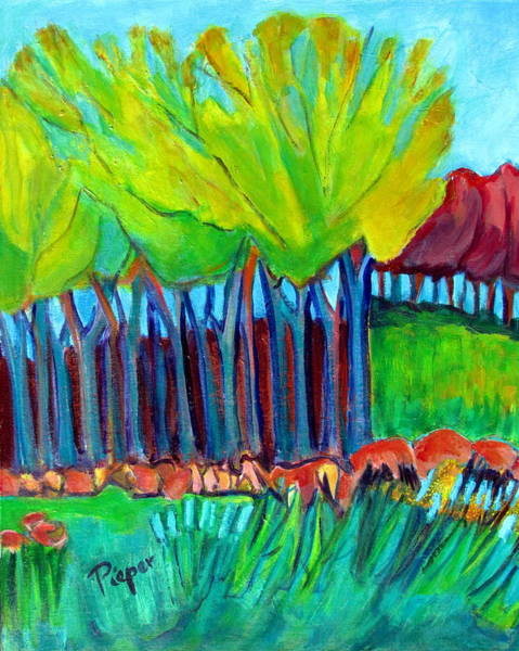 Primal Painting - Trees And Meadow by Betty Pieper