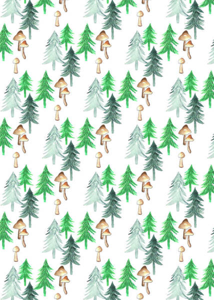 Wall Art - Painting - Trees And Mushrooms Forest Repeat Coordinate On White.jpg by MGL Meiklejohn Graphics Licensing