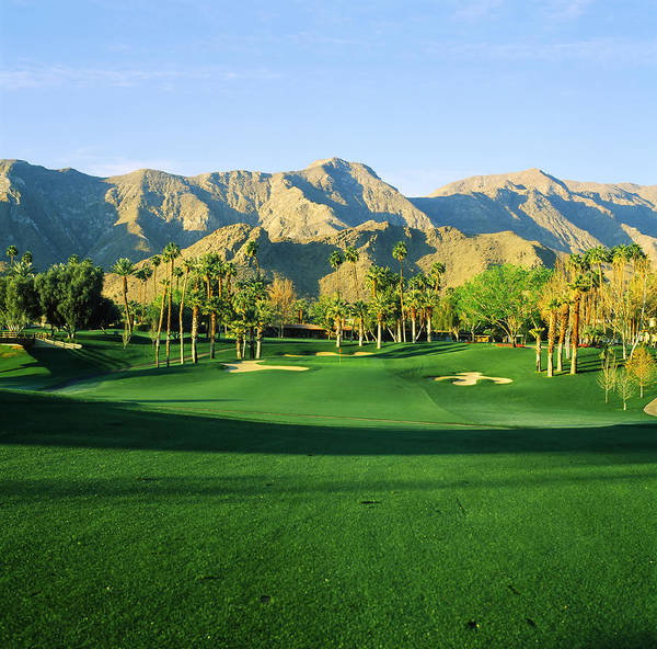 Rancho Mirage Photograph - Trees In A Golf Course With A Mountain by Panoramic Images