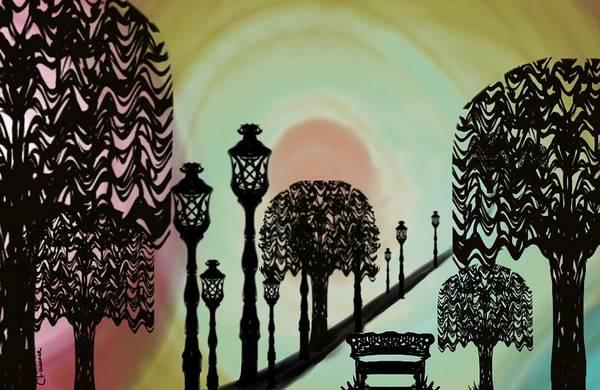 Park Bench Digital Art - Trees Of Lights by Christine Fournier
