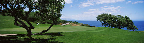 Lanai Photograph - Trees On A Golf Course, The Manele Golf by Panoramic Images