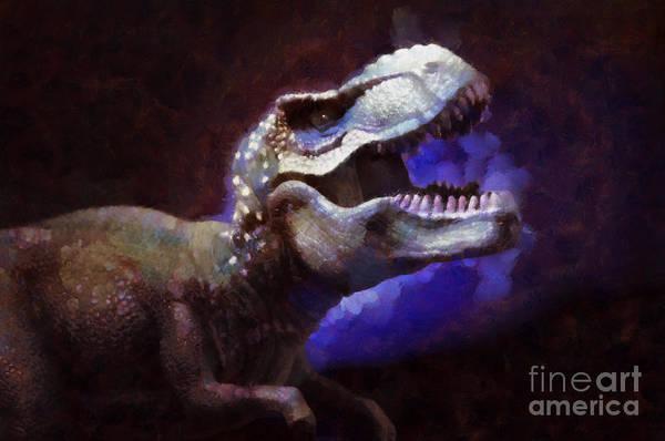 Monsters Painting - Trex Roar by Pixel Chimp