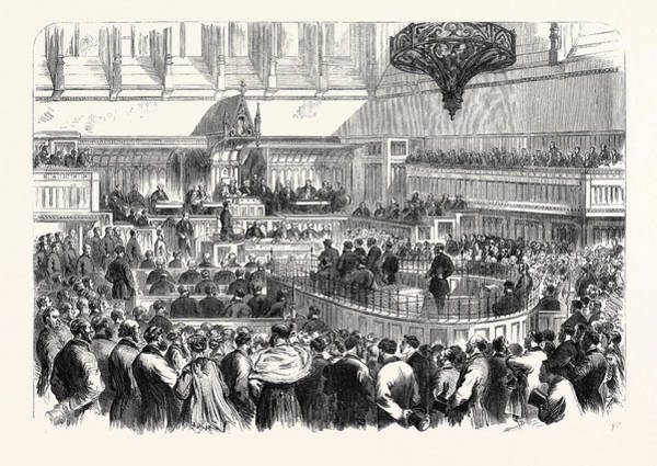 Manchester Drawing - Trial Of The Fenians At Manchester The Special Commission by English School