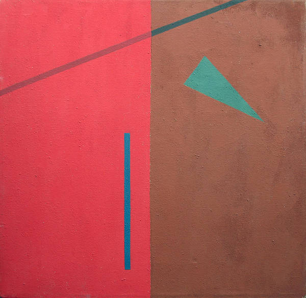 Wall Art - Painting - Triangle On Red. 1995 by Yuri Yudaev-Racei