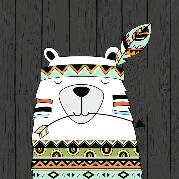 Indie Wall Art - Painting - Tribal Bear by Tamara Robinson