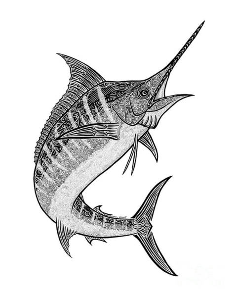 Black And White Nature Drawing - Tribal Marlin IIi by Carol Lynne