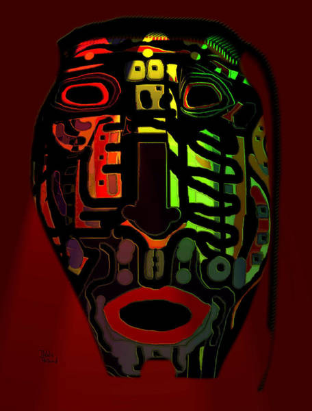 Neon Lights Mixed Media - Tribal Mask by Natalie Holland