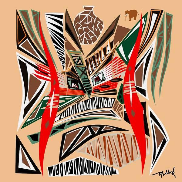Tribal Dance Digital Art - Tribal Mask With Elephant by Carl Mellick