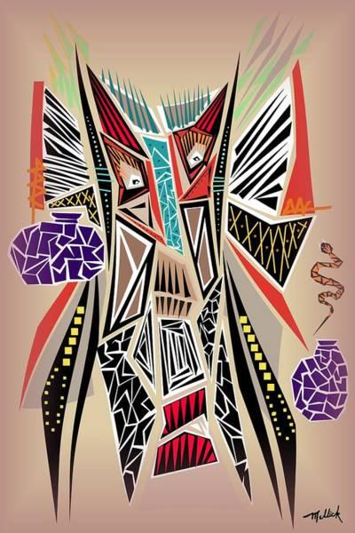 Tribal Dance Digital Art - Tribal Mask With Snake by Carl Mellick