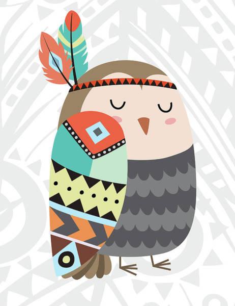 Wall Art - Painting - Tribal Owl by Tamara Robinson