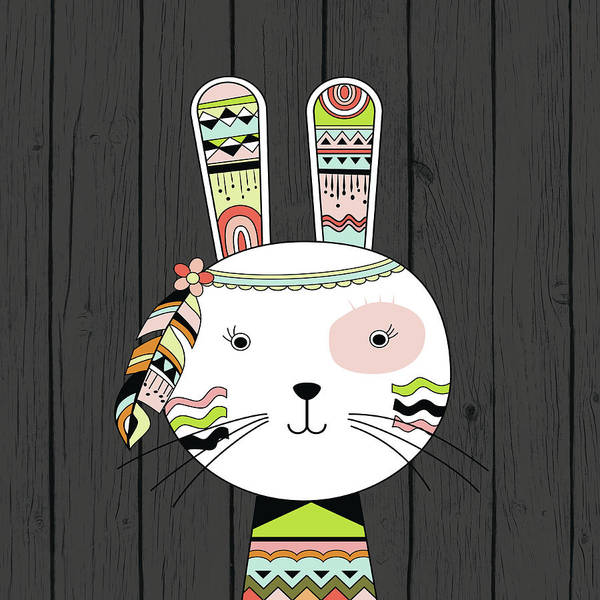 Indie Wall Art - Painting - Tribal Rabbit by Tamara Robinson