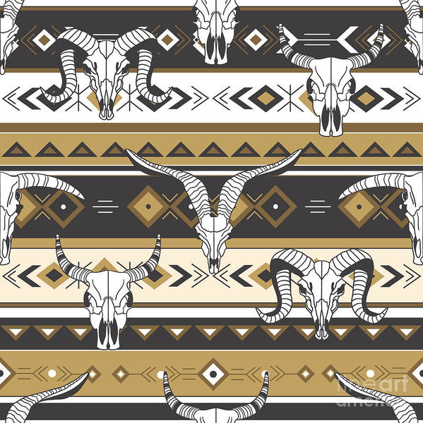 West Indian Wall Art - Digital Art - Tribal Seamless Pattern With Skulls Of by Talirina