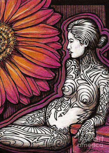 Tats Painting - Tribal Tat Nude by Dorinda K Skains