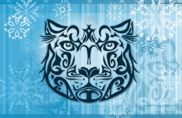 Wall Art - Digital Art - Tribal Tattoo Design Illustration Poster Of Snow Leopard by Sassan Filsoof
