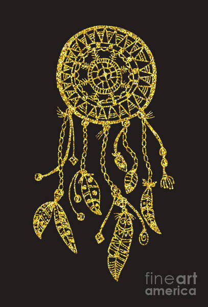 Magic Wall Art - Digital Art - Tribal Vector Dream Catcher With by Qilli
