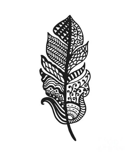 Tradition Wall Art - Digital Art - Tribal Vector Feather. Hand Drawn by Qilli