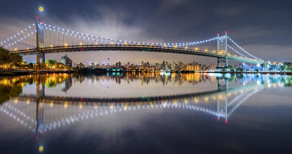 Photograph - Triboro Bridge Panorama At Night by Mihai Andritoiu